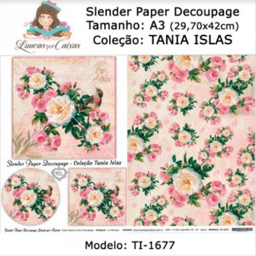 Slender Paper Decoupage A3 TI-1677 - Loucas Por Caixas - Coleção Tania Islas
