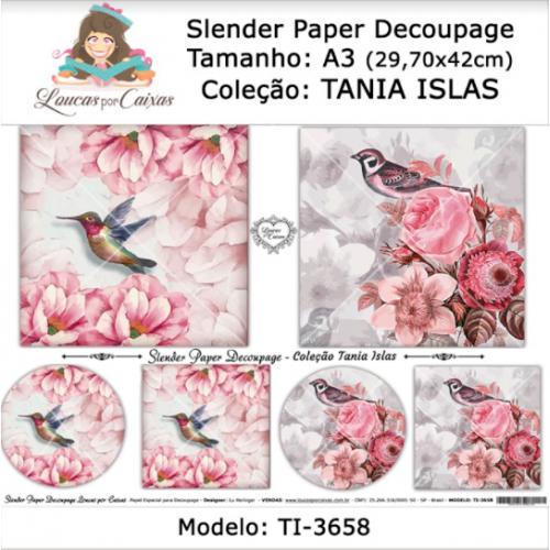 Slender Paper Decoupage A3 TI-3658 - Loucas Por Caixas - Coleção Tania Islas