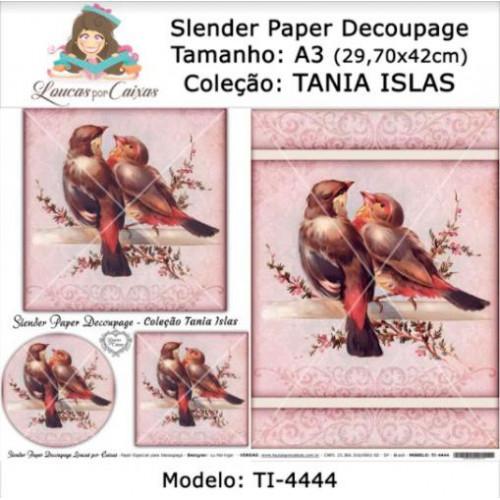 Slender Paper Decoupage A3 TI-4444 - Loucas Por Caixas - Coleção Tania Islas