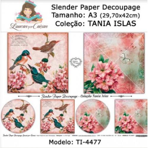 Slender Paper Decoupage A3 TI-4477 - Loucas Por Caixas - Coleção Tania Islas