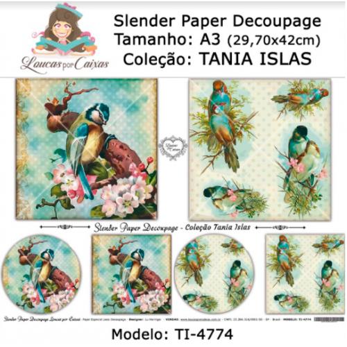 Slender Paper Decoupage A3 TI-4774 - Loucas Por Caixas - Coleção Tania Islas