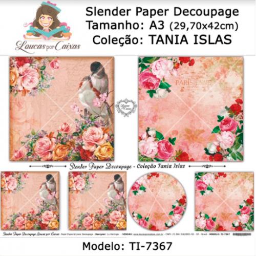 Slender Paper Decoupage A3 TI-7367 - Loucas Por Caixas - Coleção Tania Islas