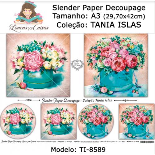 Slender Paper Decoupage A3 TI-8589 - Loucas Por Caixas - Coleção Tania Islas