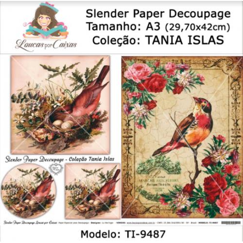 Slender Paper Decoupage A3 TI-9487 - Loucas Por Caixas - Coleção Tania Islas