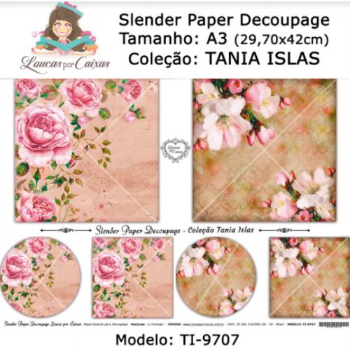 Slender Paper Decoupage A3 TI-9707 - Loucas Por Caixas - Coleção Tania Islas