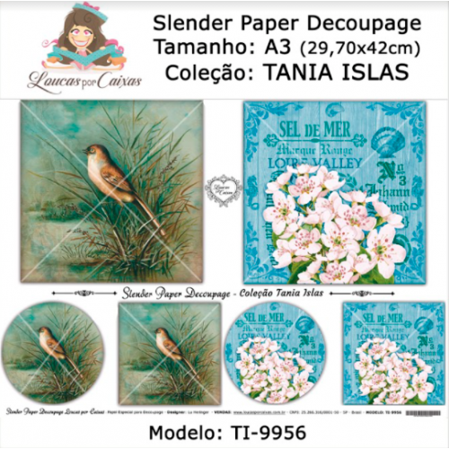 Slender Paper Decoupage A3 TI-9956 - Loucas Por Caixas - Coleção Tania Islas