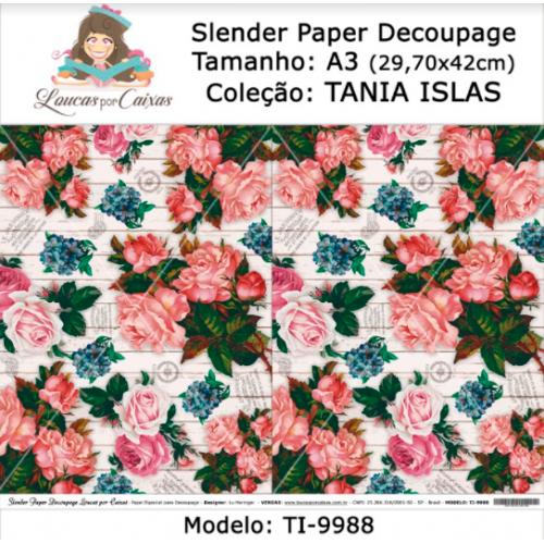 Slender Paper Decoupage A3 TI-9988 - Loucas Por Caixas - Coleção Tania Islas