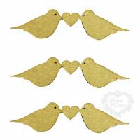 Pássaros Beijando - 3 Unid - MDF..