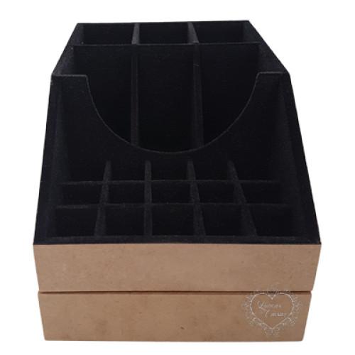Caixa Flocada 16X24X14 Porta Maquiagem - Preto