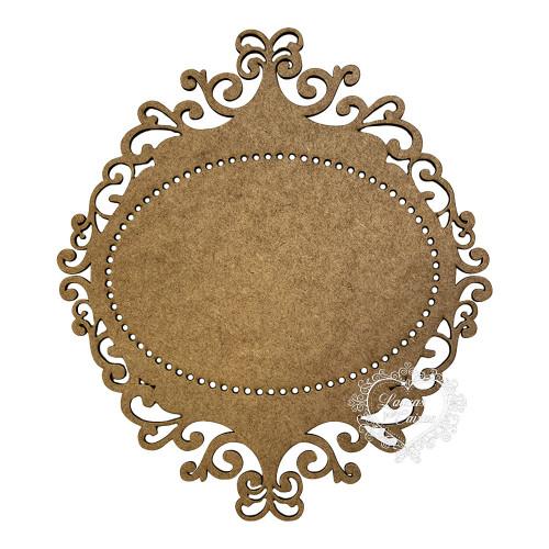 Placa oval com arabescos - 3mm - 30 x 34 cm