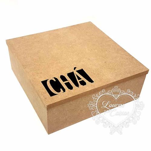 Caixa de chá 4 divisórias 19,3x19,3x7,2 cm