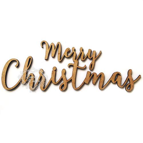Aplique Merry Christmas - em MDF 3mm