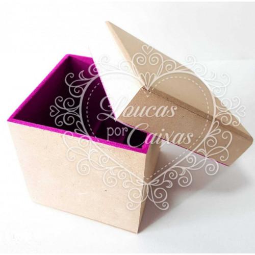 Caixa Flocada Porta Batom com 9 divisórias 10x10x10 - Vinho