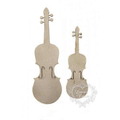 Kit Apliques Violinos - 2 tamanhos - em Chipboard