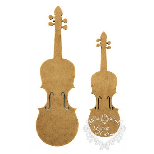 Kit Apliques Violinos - 2 tamanhos - em MDF