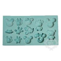 Molde de Silicone - Apliques Mickey e Mi..