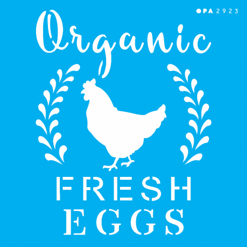 Stencil Farmhouse Organic Fresh Eggs - 14x14
