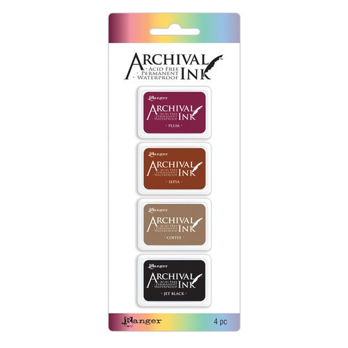 Carimbeira Archival ink - 4 mini Pad - cores básicas
