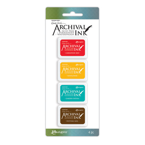 Carimbeira Archival ink - 4 mini Pad - Wendy Vecchi - cores quentes