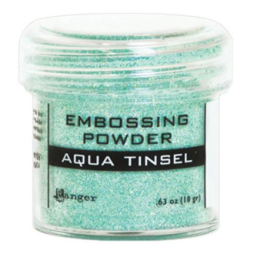 Pó para embossing Aqua Tinsel (com glitter)