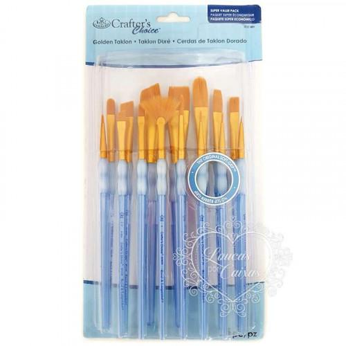 Kit Crafters Choice Variado com 15 pinceis Golden Taklon