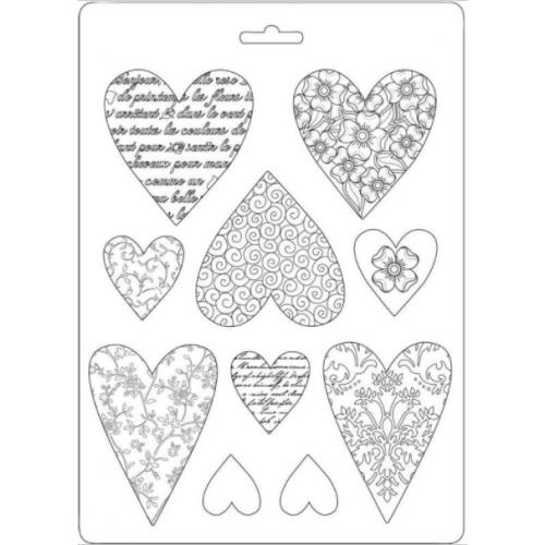 Molde de Plástico - Soft Mould Hearts A5