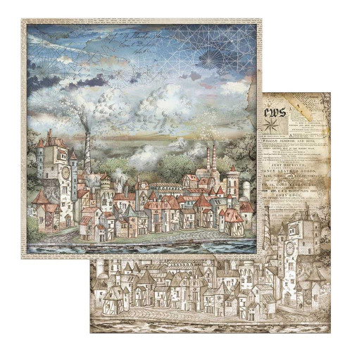 Papel Scrap Cityscapes - Sir. Vagabound -  Stamperia 30,5 x 30,5 dupla face