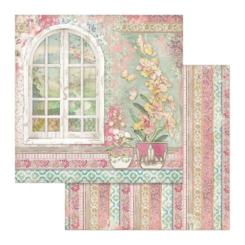 Papel Scrap Window - Orchides and Cats Stamperia 30,5 x 30,5 dupla face