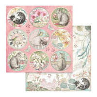 Papel Scrap Rounds - Orchides and Cats S..