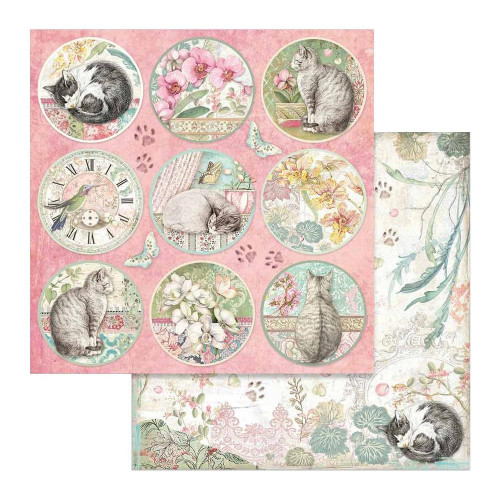 Papel Scrap Rounds - Orchides and Cats Stamperia 30,5 x 30,5 dupla face