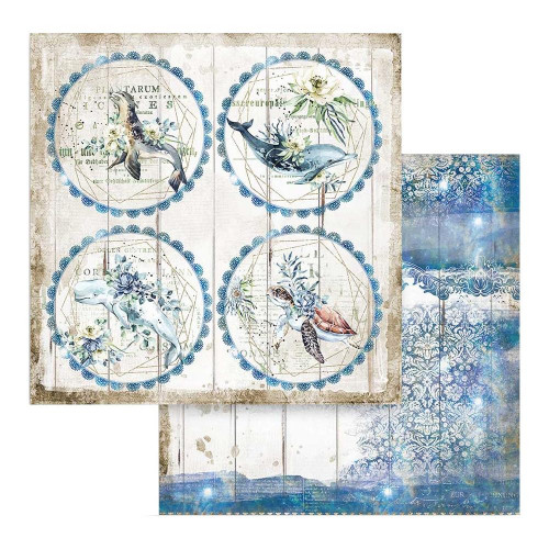 Papel Scrapbook - Stamperia 31,5 x 30,5 Dupla Face - Círculos - Romantic