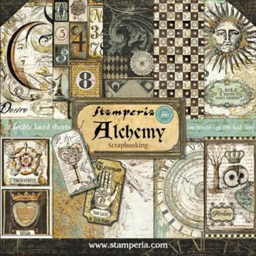 Bloco com 10 papéis Stamperia 30.5 x 30,5 ALCHEMY