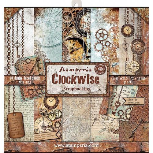Bloco com 10 papéis Stamperia 30.5 x 30,5 CLOCKWISE