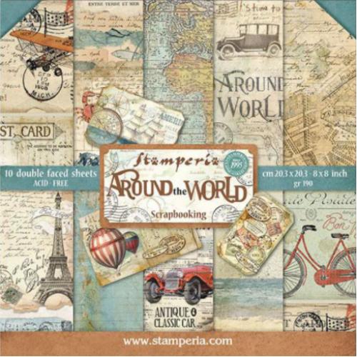 Bloco com 10 papéis Stamperia 20.3 x 20,3 Around the World