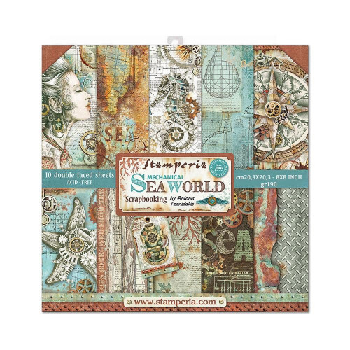 Bloco com 10 papéis Stamperia 20.3 x 20,3 Sea World  by Antonis Tzanidakis
