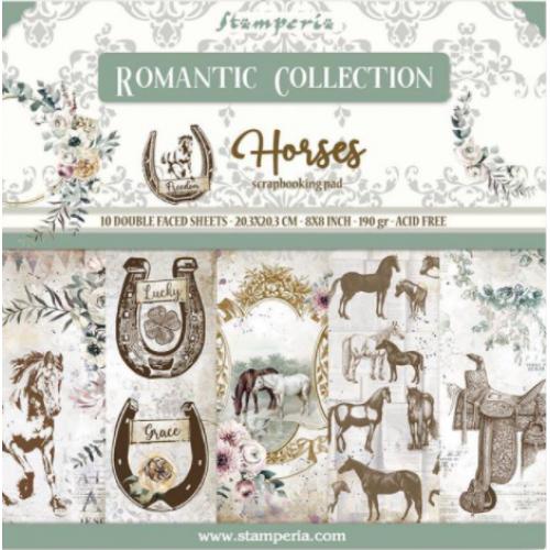Bloco com 10 papéis Stamperia 20,3 x 20,3 Romantic Horses