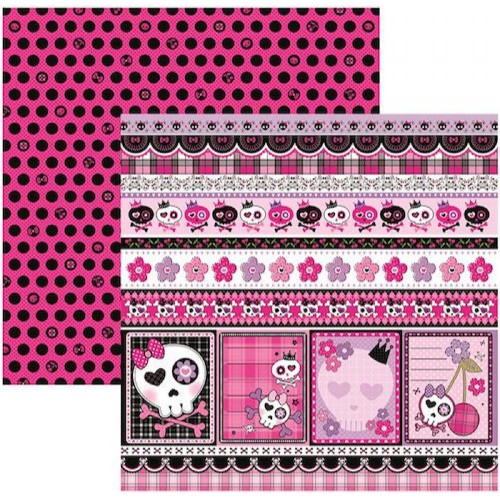Papel Scrap DF Caveiras Pink Barrinhas - Dupla Face 180g