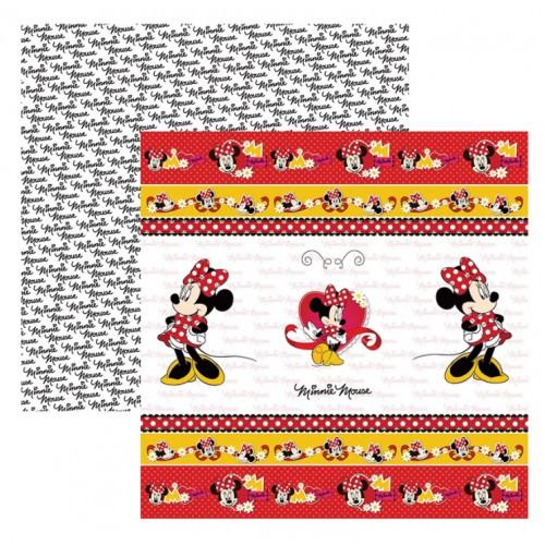 Papel para Scrap Dupla Face Minnie Mouse 1 Fitas e Rótulos