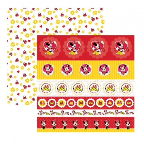 Papel para Scrap Dupla Face Minnie Mouse 1 Selos e Tags