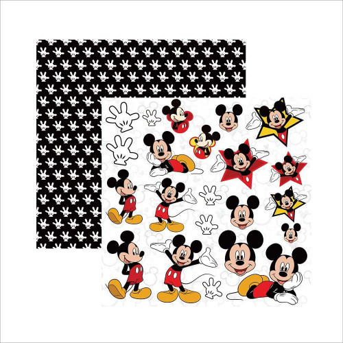Papel 180g dupla face Mickey Mouse - 30.5 x 30.5
