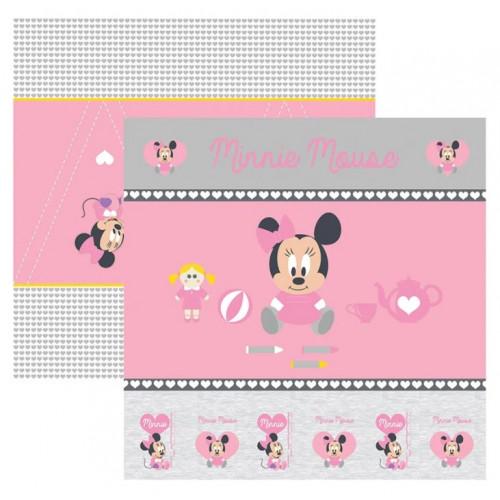 Papel para Scrap Dupla Face Baby Minnie 1 Cenário e Bandeirolas