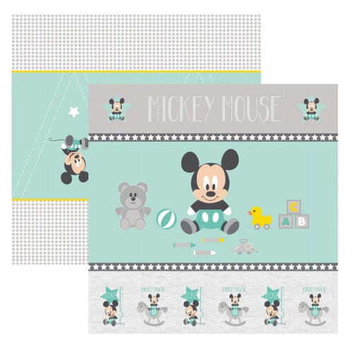 Papel para Scrap Dupla Face Baby Mickey 1 Cenário e Bandeirolas