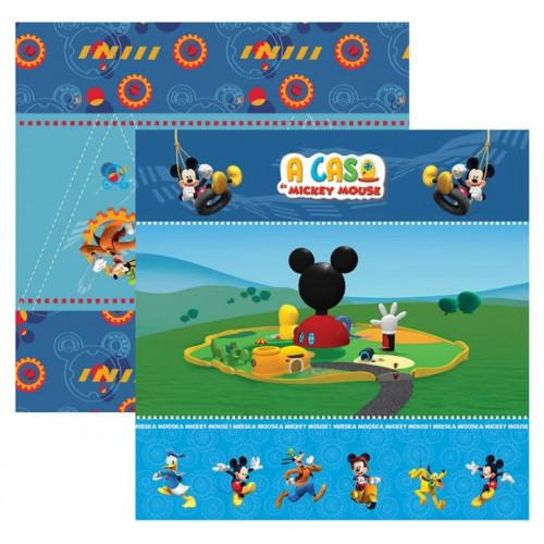 Papel para Scrap Dupla Face A Casa Do Mickey 1 Cenários e Bandeirolas