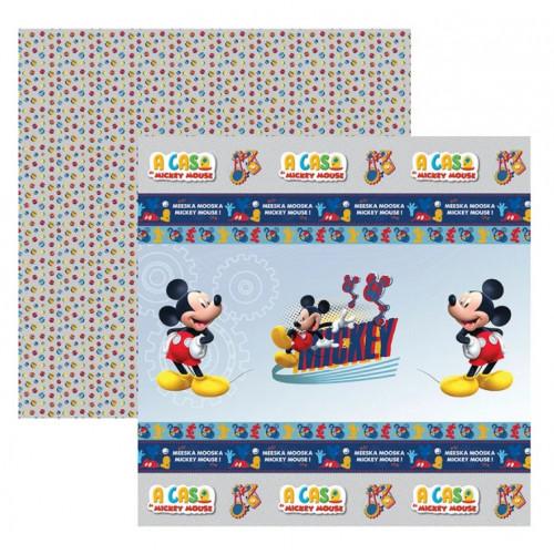 Papel para Scrap Dupla Face A Casa do Mickey 1 Fitas e Rotulos