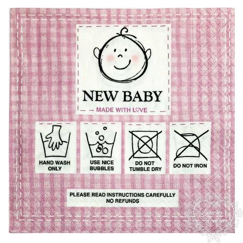 guardanapo new baby rosa - 2 unid