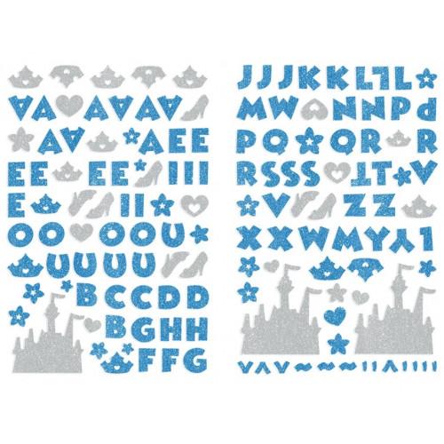 Adesivo Alfabeto EVA Puro Glitter Princesas Azul