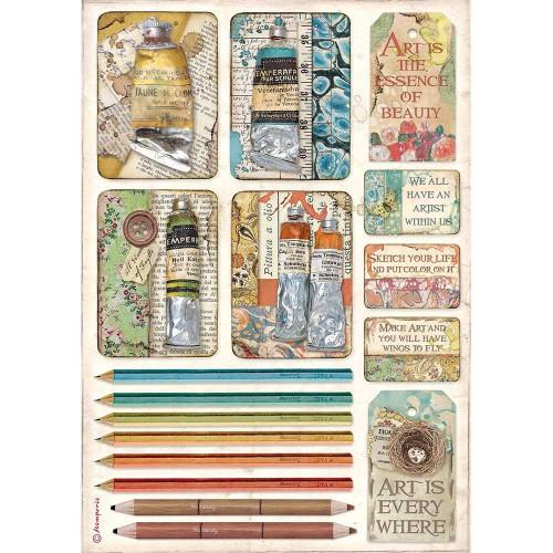 Papel Arroz A4 Stamperia - Paint/Pencil - Atelier