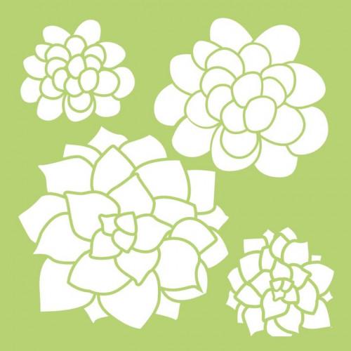 Stencil KaiserCraft Succulents 15x15 cm