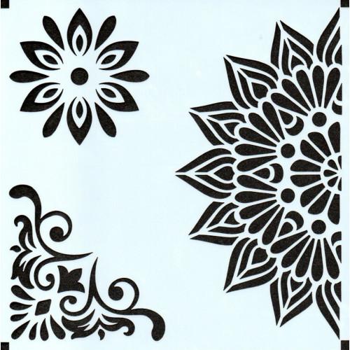Stencil Estampa Floral 2 - 15x15